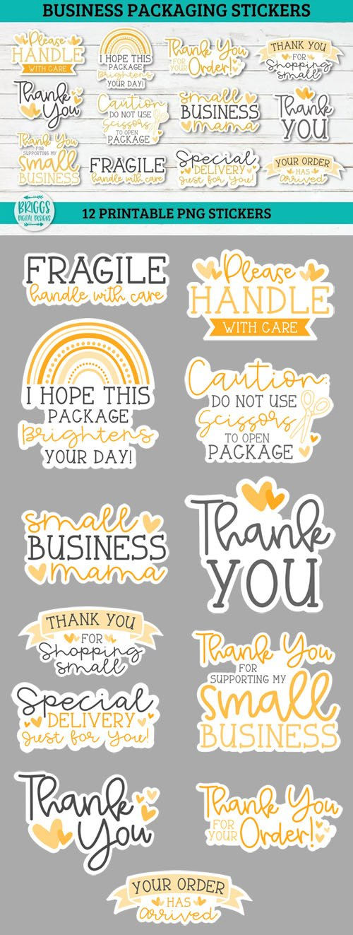12 Yellow Business Packaging Printable Stickers PNG Bundle
