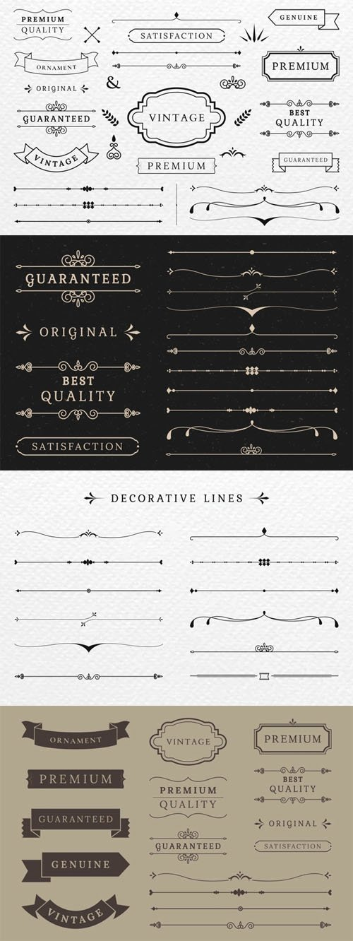 Premium Quality of Decorative Banners and Lines Vector Collection
