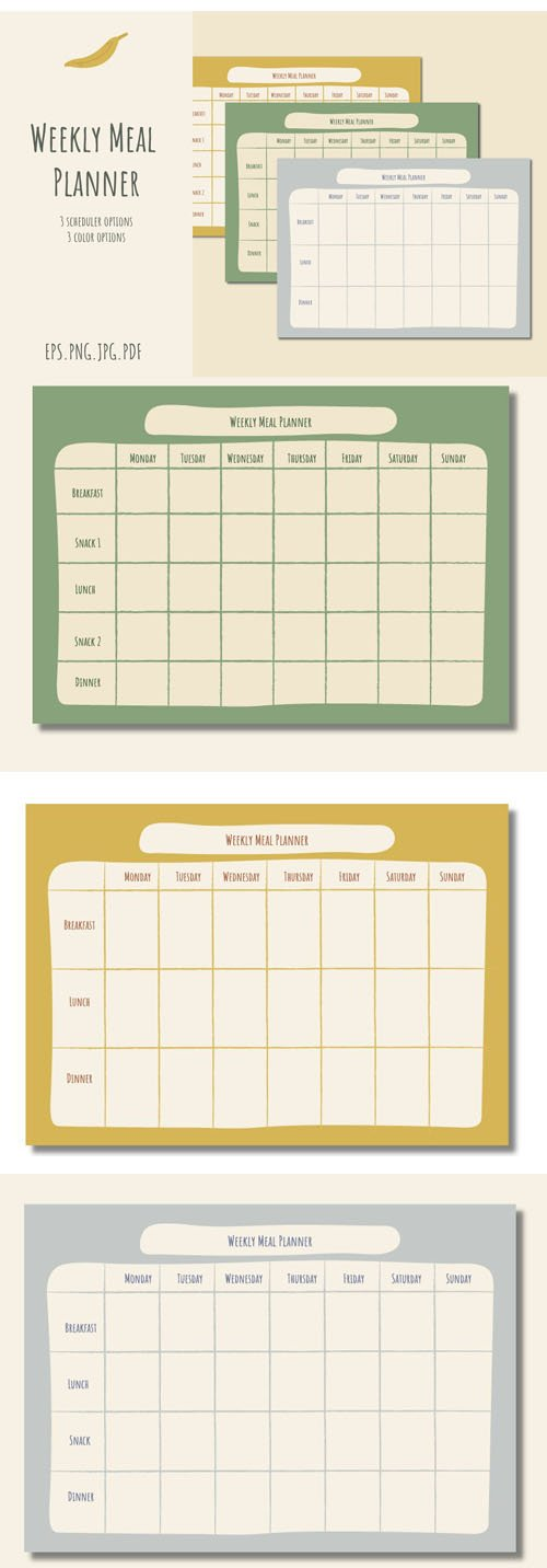 Weekly Meal Planner Vector Templates