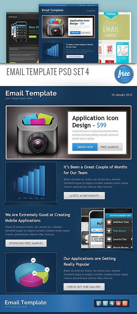 download email template psd set 4 softarchive. Black Bedroom Furniture Sets. Home Design Ideas